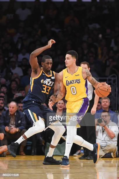 Kyle Kuzma of the Los Angeles Lakers handles the ball during the preseason game Ekpe Udoh of the Utah Jazz on October 10 2017 at STAPLES Center in...