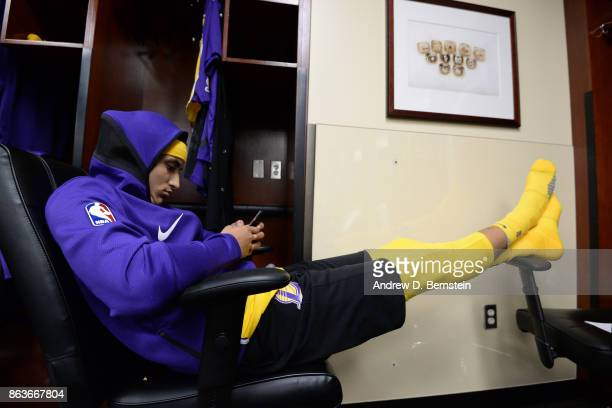 Kyle Kuzma of the Los Angeles Lakers in the locker room before the game against the LA Clippers October 19 2017 at STAPLES Center in Los Angeles...