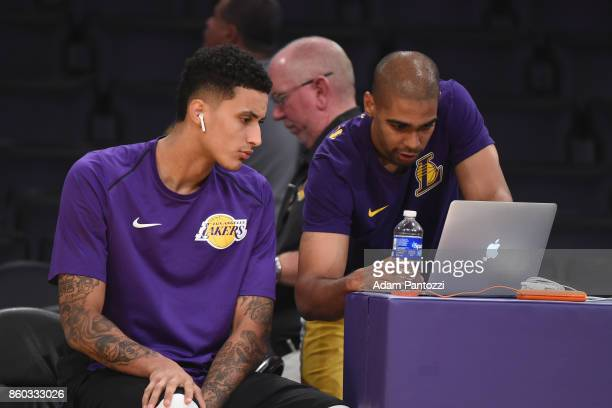 Kyle Kuzma of the Los Angeles Lakers is seen before the preseason game against the Utah Jazz on October 10 2017 at STAPLES Center in Los Angeles...