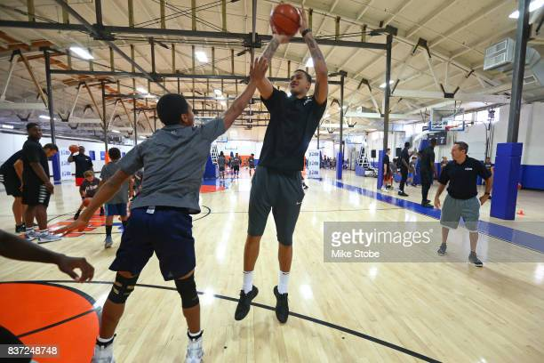 Kyle Kuzma of the Los Angeles Lakers participates in a Jr NBA Clinic in New York New York on August 15 2017 NOTE TO USER User expressly acknowledges...