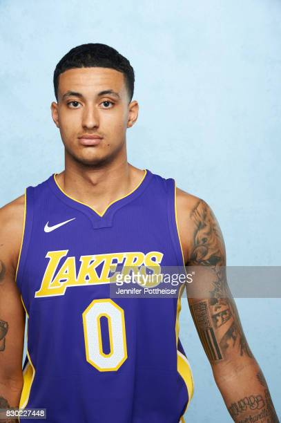Kyle Kuzma of the Los Angeles Lakers poses for a photo during the 2017 NBA Rookie Shoot on August 11 2017 at the Madison Square Garden Training...