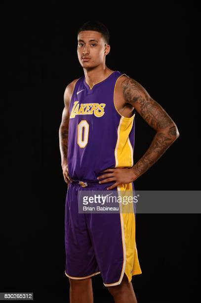 Kyle Kuzma of the Los Angeles Lakers poses for a photo during the 2017 NBA Rookie Photo Shoot at MSG training center on August 11 2017 in Tarrytown...