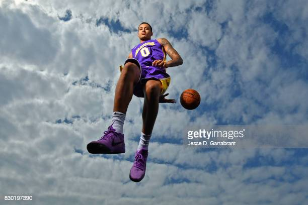 Kyle Kuzma of the Los Angeles Lakers poses for a portrait during the 2017 NBA rookie photo shoot on August 11 2017 at the Madison Square Garden...