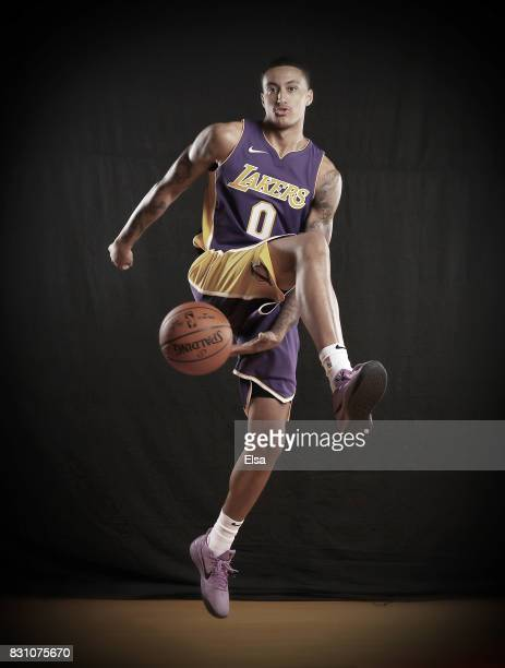 Kyle Kuzma of the Los Angeles Lakers poses for a portrait during the 2017 NBA Rookie Photo Shoot at MSG Training Center on August 11 2017 in...