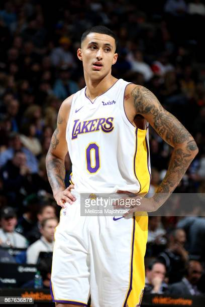 Kyle Kuzma of the Los Angeles Lakers reacts during the game against the Utah Jazz on October 28 2017 at VivintSmartHome Arena in Salt Lake City Utah...