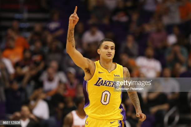 Kyle Kuzma of the Los Angeles Lakers reacts during the second half of the NBA game against the Phoenix Suns at Talking Stick Resort Arena on October...