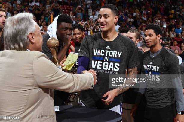 Kyle Kuzma of the Los Angeles Lakers receives the MVP trophy against the Portland Trailblazers during the 2017 Summer League Finals on July 17 2017...
