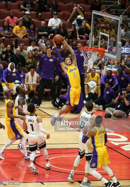 Kyle Kuzma of the Los Angeles Lakers shoots the ball against the Minnesota Timberwolves during a preseason game on September 30 2017 at Honda Center...
