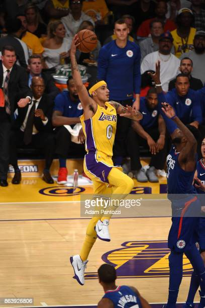 Kyle Kuzma of the Los Angeles Lakers shoots the ball against the LA Clippers on October 19 2017 at STAPLES Center in Los Angeles California NOTE TO...