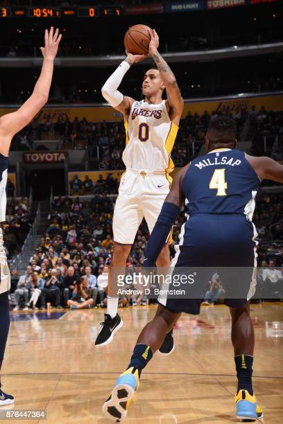 Kyle Kuzma of the Los Angeles Lakers shoots the ball against the Denver Nuggets on November 19 2017 at STAPLES Center in Los Angeles California NOTE...