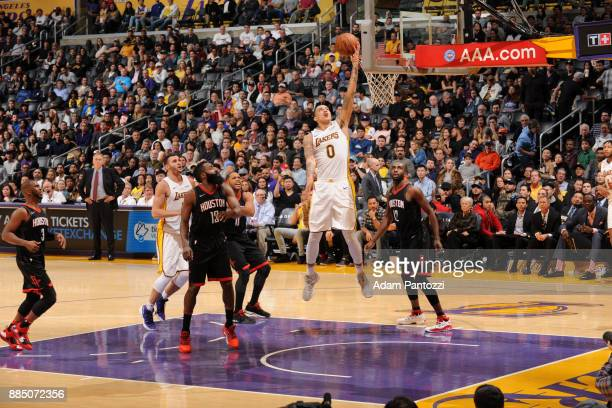 Kyle Kuzma of the Los Angeles Lakers shoots the ball against the Houston Rockets on December 3 2017 at STAPLES Center in Los Angeles California NOTE...