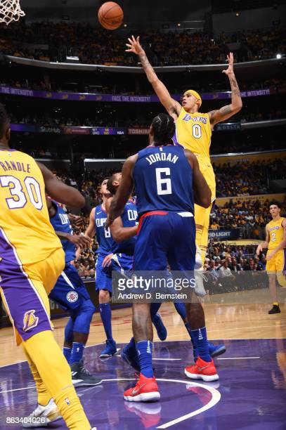 Kyle Kuzma of the Los Angeles Lakers shoots the ball against the LA Clippers during the game on October 19 2017 at STAPLES Center in Los Angeles...