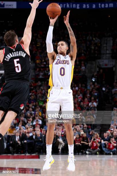 Kyle Kuzma of the Los Angeles Lakers shoots the ball against the Portland Trail Blazers on November 2 2017 at the Moda Center in Portland Oregon NOTE...