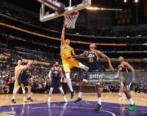 Kyle Kuzma of the Los Angeles Lakers shoots the ball against the Utah Jazz during a preseason game on October 10 2017 at STAPLES Center in Los...