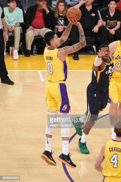 Kyle Kuzma of the Los Angeles Lakers shoots the ball during the preseason game against the Utah Jazz on October 10 2017 at STAPLES Center in Los...