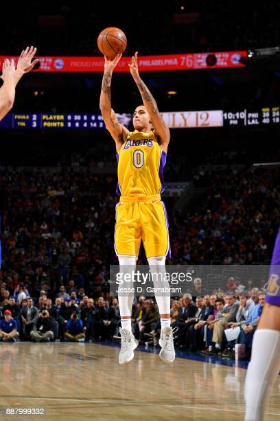 Kyle Kuzma of the Los Angeles Lakers shoots the ball during the game against the Philadelphia 76ers on December 7 2017 at Wells Fargo Center in...