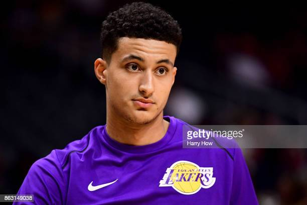 Kyle Kuzma of the Los Angeles Lakers warms up before the game against the LA Clippers at Staples Center on October 10 2017 in Los Angeles California
