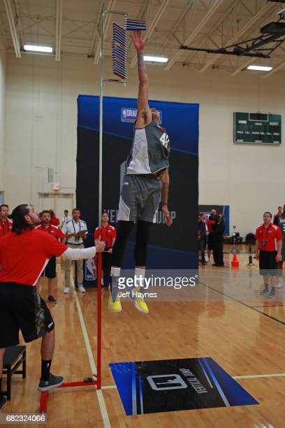 Kyle Kuzma participates in the vertical jump during the NBA Draft Combine at the Quest Multisport Center on May 11 2017 in Chicago Illinois NOTE TO...