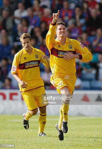 Kyle Lafferty of Burnley celebrates after scoring a goal during the CocaCola Championship match between Crystal Palace and Burnley at Selhurst Park...