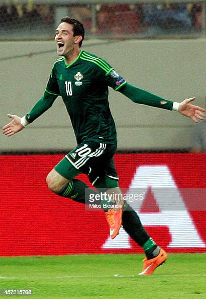 Kyle Lafferty of Northern Ireland celebrate a goal during the group F EURO 2016 qualifier between Greece and Northern Ireland at Georgios Karaiskakis...