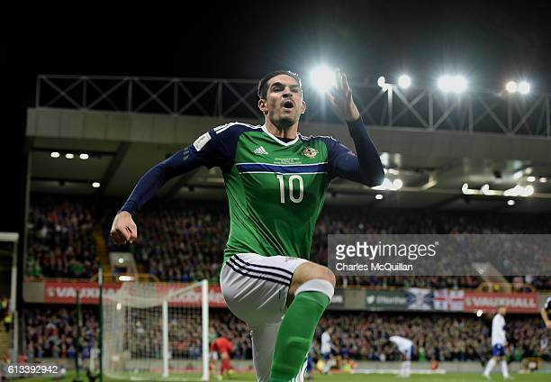 Kyle Lafferty of Northern Ireland celebrates after he scores during the FIFA 2018 World Cup Qualifier between Northern Ireland and San Marino at...