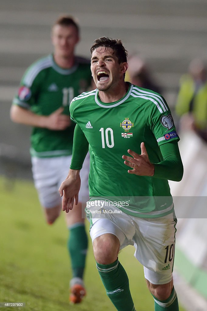 Kyle Lafferty of Northern Ireland celebrates after scoring a late equaliser during the Euro 2016 Group F qualifying match between Northern Ireland and Hungary at Windsor Park on September 7, 2015 in Belfast, Northern Ireland.