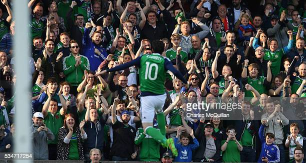 Kyle Lafferty of Northern Ireland celebrates after scoring during the international friendly game between Northern Ireland and Belarus on May 27 2016...