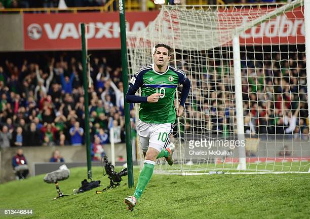 Kyle Lafferty of Northern Ireland celebrates after scoring during the FIFA 2018 World Cup Qualifier between Northern Ireland and San Marino at...