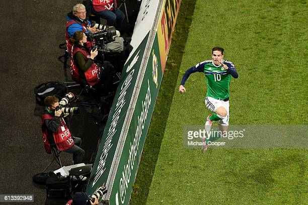 Kyle Lafferty of Northern Ireland celebrates after scoring the second goal during the FIFA 2018 World Cup Qualifier between Northern Ireland and San...