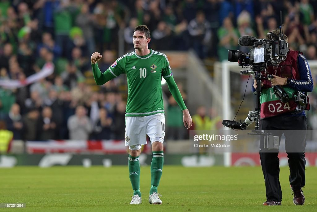 Kyle Lafferty of Northern Ireland celebrates after the Euro 2016 Group F qualifying match between Northern Ireland and Hungary at Windsor Park on September 7, 2015 in Belfast, Northern Ireland.