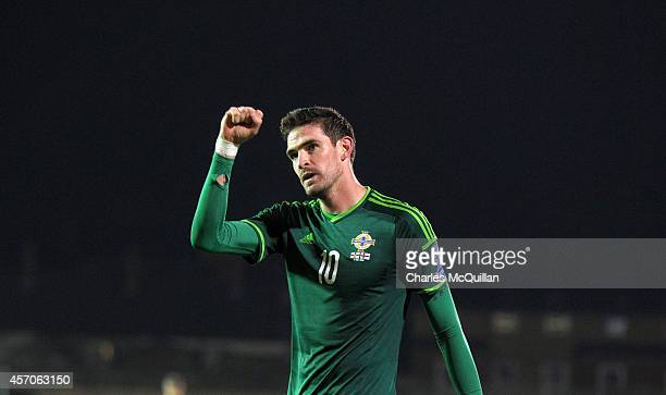 Kyle Lafferty of Northern Ireland celebrates his goal to put the home side 20 up during the Euro 2016 Qualifier between Northern Ireland and Faroe...
