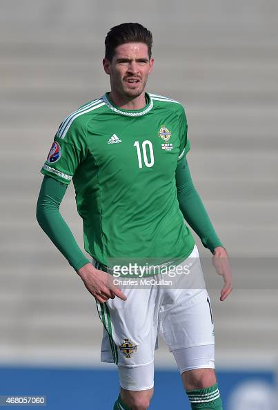 Kyle Lafferty of Northern Ireland during the EURO 2016 Group F qualifier at Windsor Park on March 29 2015 in Belfast Northern Ireland