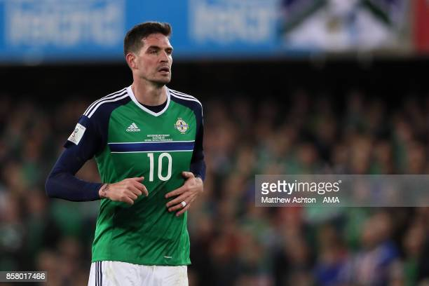 Kyle Lafferty of Northern Ireland looks on during the FIFA 2018 World Cup Qualifier between Northern Ireland and Germany at Windsor Park on October 5...