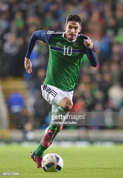 Kyle Lafferty of Northern Ireland pictured during the international football friendly between Northern Ireland and Latvia at Windsor Park on November...