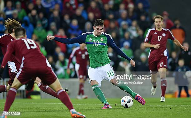 Kyle Lafferty of Northern Ireland shoots towards goal during the international football friendly between Northern Ireland and Latvia at Windsor Park...