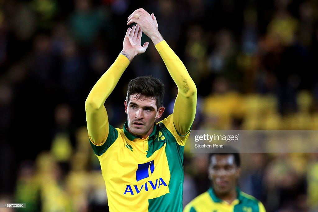 Kyle Lafferty of Norwich City celebrates victory after the Capital One Cup Third Round match between Norwich City and West Bromwich Albion at Carrow...