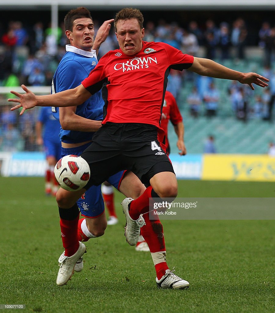 Kyle Lafferty of Rangers fouls Phil Jones of the Rovers during the pre-season friendly match between Blackburn Rovers and Glasgow Rangers at the Sydney Football Stadium on July 25, 2010 in Sydney, Australia.