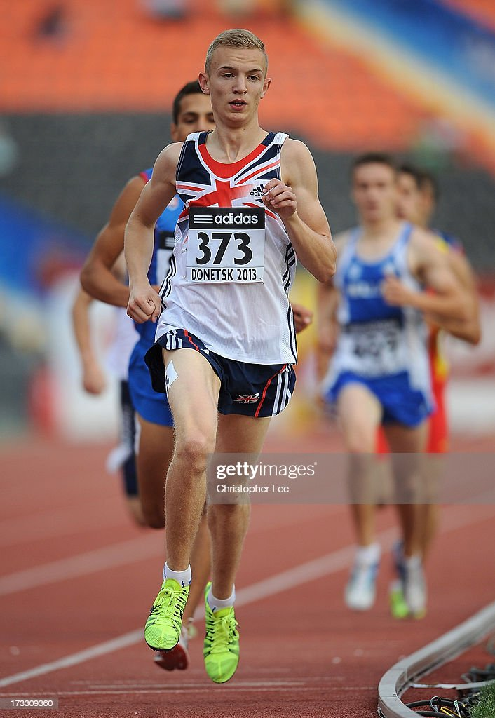 Kyle Langford of Great Britain runs in the Boys 800m Semi Final during Day 2 of the IAAF World Youth Championships at the RSC Olimpiyskiy Stadium on July 11, 2013 in Donetsk, Ukraine.