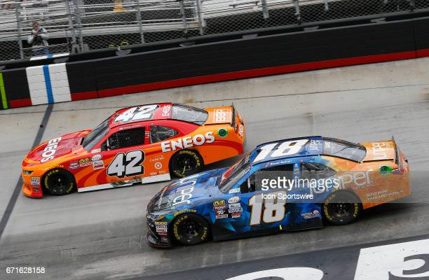 Kyle Larson and Daniel Suarez Juniper Toyota Camry during the Fitzgerald Glider Kits 300 NASCAR Xfinity Series race on April 22 2017 at Bristol Motor...