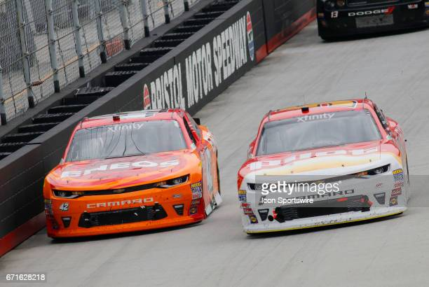 Kyle Larson and Michael Annett during the Fitzgerald Glider Kits 300 NASCAR Xfinity Series race on April 22 2017 at Bristol Motor Speedway in Bristol...