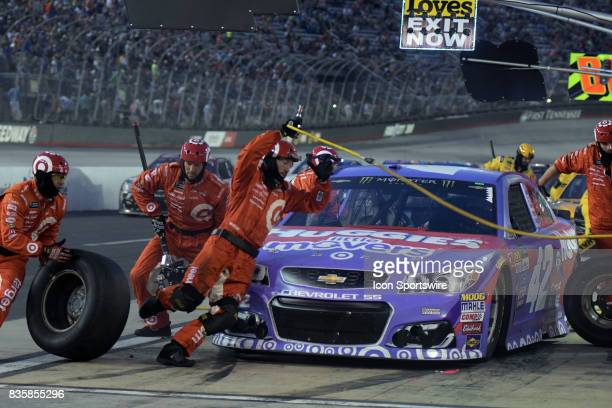 Kyle Larson Chip Ganassi Racing Huggies Little Movers Chevrolet SS during a pit stop in the NASCAR Monster Energy Cup Series Bass Pro Shops NRA Night...