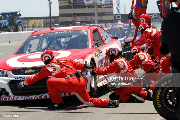 Kyle Larson comes in for a 4 tire stop and fuel early in the NASCAR Monster Energy Cup Series Toyota/Save Mart 350 on June 25 2017 at Sonoma Raceway...
