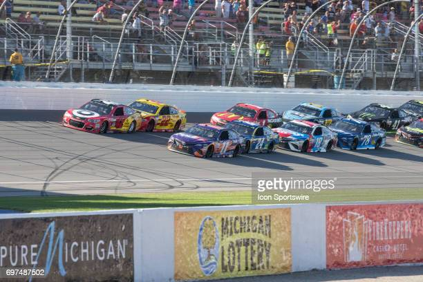 Kyle Larson driver of the Cars 3/Target Chevrolet Denny Hamlin driver of the FedEx Office Toyota Chase Elliott driver of the NAPA Chevrolet Joey...