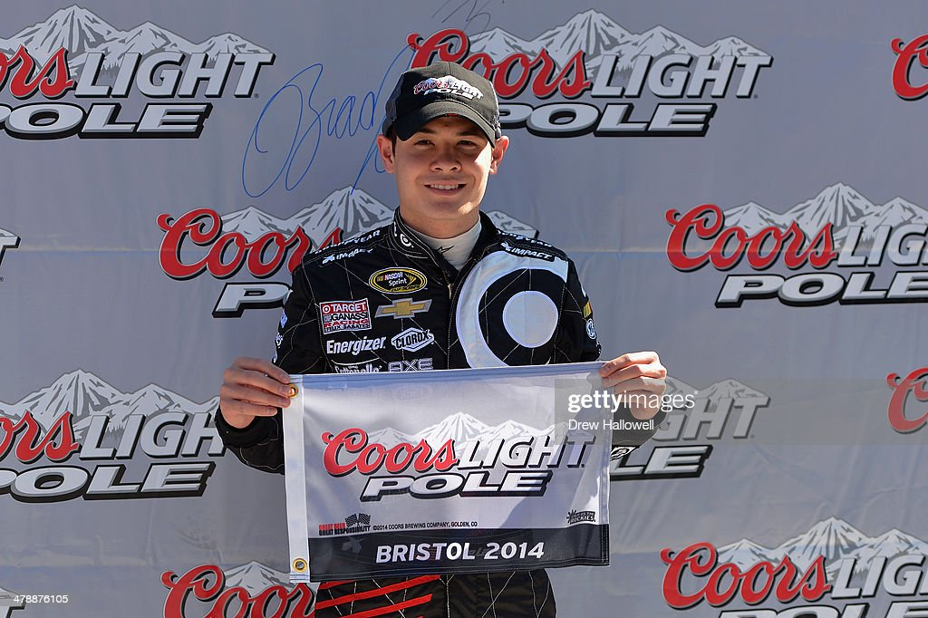 <a gi-track='captionPersonalityLinkClicked' href=/galleries/search?phrase=Kyle+Larson&family=editorial&specificpeople=2115989 ng-click='$event.stopPropagation()'>Kyle Larson</a>, driver of the #42 Cartwheel Chevrolet, celebrates winning the pole award after qualifying for the NASCAR Nationwide Series Drive To Stop Diabetes 300 at Bristol Motor Speedway on March 15, 2014 in Bristol, Tennessee.