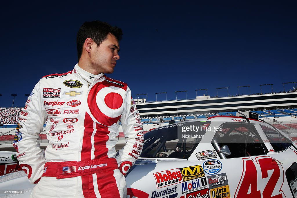 <a gi-track='captionPersonalityLinkClicked' href=/galleries/search?phrase=Kyle+Larson+-+Race+Car+Driver&family=editorial&specificpeople=2115989 ng-click='$event.stopPropagation()'>Kyle Larson</a>, driver of the #42 Cartwheel Chevrolet, stands on the grid during qualifying for the NASCAR Nationwide Series Boyd Gaming 300 at Las Vegas Motor Speedway on March 8, 2014 in Las Vegas, Nevada.