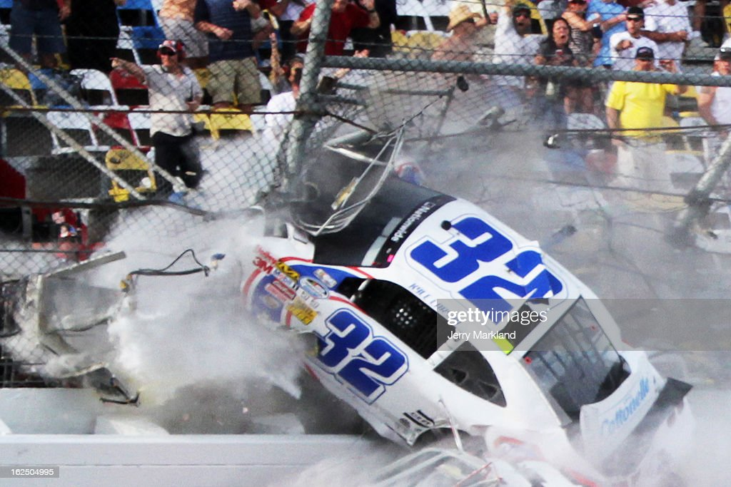 <a gi-track='captionPersonalityLinkClicked' href=/galleries/search?phrase=Kyle+Larson+-+Race+Car+Driver&family=editorial&specificpeople=2115989 ng-click='$event.stopPropagation()'>Kyle Larson</a>, driver of the #32 Clorox Chevrolet, is involved in an incident on the last lap of the NASCAR Nationwide Series DRIVE4COPD 300 at Daytona International Speedway on February 23, 2013 in Daytona Beach, Florida.