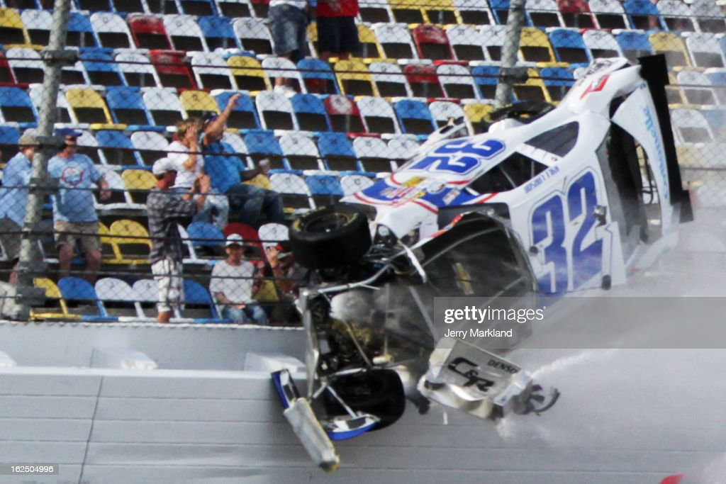 <a gi-track='captionPersonalityLinkClicked' href=/galleries/search?phrase=Kyle+Larson&family=editorial&specificpeople=2115989 ng-click='$event.stopPropagation()'>Kyle Larson</a>, driver of the #32 Clorox Chevrolet, is involved in an incident on the last lap of the NASCAR Nationwide Series DRIVE4COPD 300 at Daytona International Speedway on February 23, 2013 in Daytona Beach, Florida.