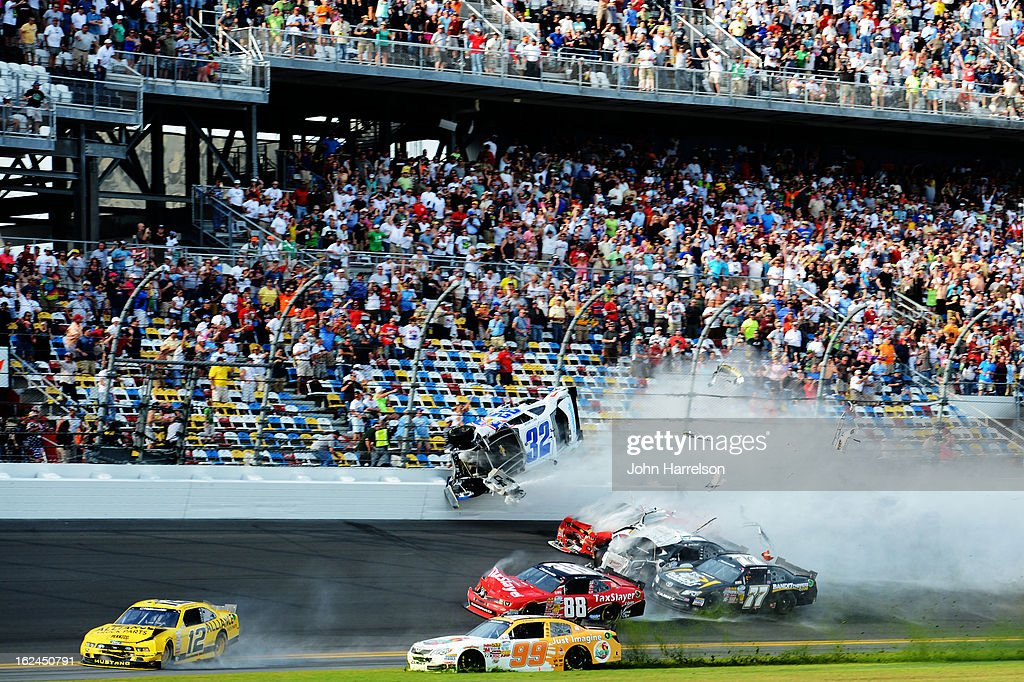 Kyle Larson driver of the Clorox Chevrolet Justin Allgaier driver of the Brandt Chevrolet and Brad Keselowski driver of the Discount Tire Dodge are...