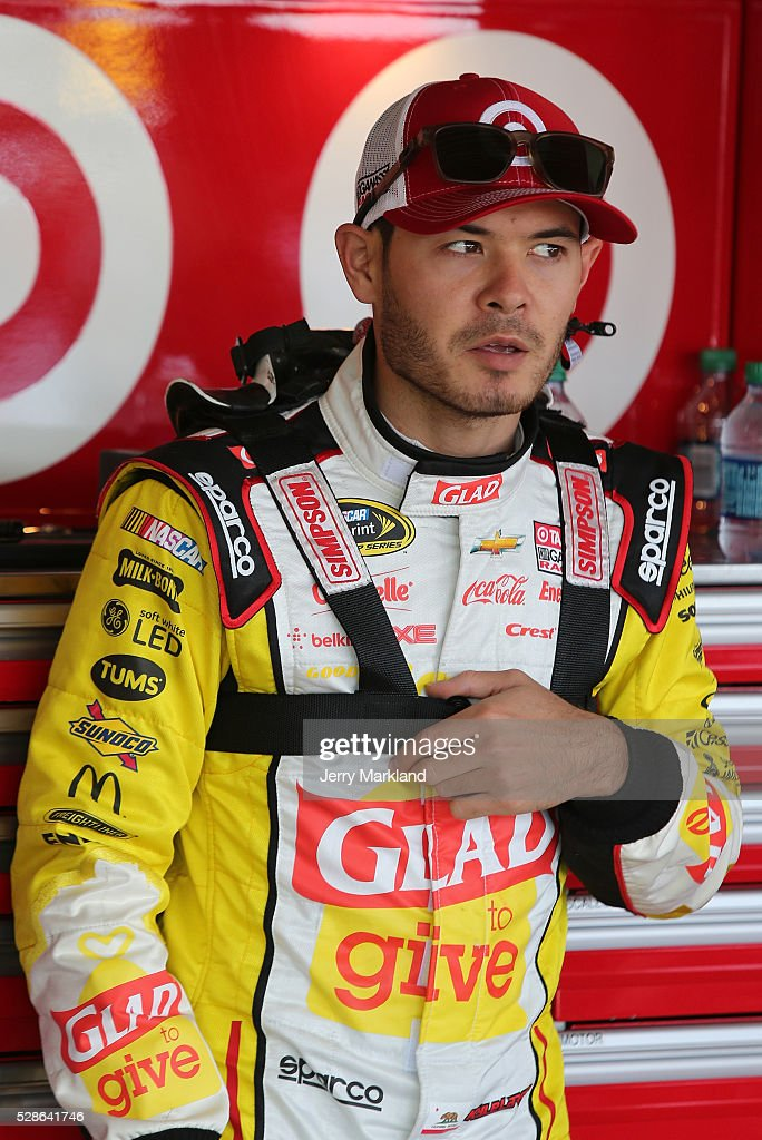 Kyle Larson, driver of the #42 Clorox Chevrolet, looks on during practice for the NASCAR Sprint Cup Series Go Bowling 400 at Kansas Speedway on May 6, 2016 in Kansas City, Kansas.