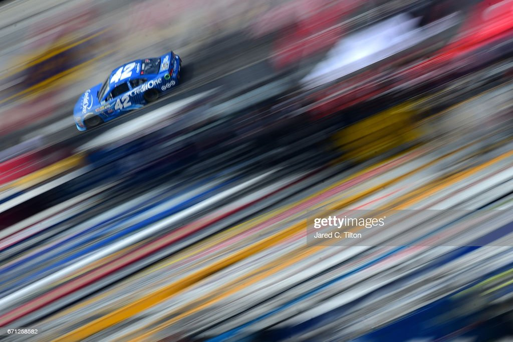 Kyle Larson, driver of the #42 Credit One Bank Chevrolet, drives during practice for the Monster Energy NASCAR Cup Series Food City 500 at Bristol Motor Speedway on April 21, 2017 in Bristol, Tennessee.